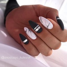 Spring Nail Art Cute Spring Nail Designs Ideas - nails - Welcome Haar Design Marble Nail Designs, Marble Nail Art, Acrylic Nail Designs, Nail Art Designs, Nails Design, Black Marble Nails, White Marble, Unique Nail Designs, Cute Spring Nails