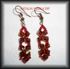 Aros pendientes ARTESANALES de cuentas y toupis . Handmade beaded earrings bicons TUTORIAL