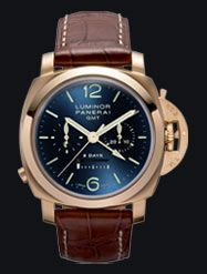 Panerai Special editions 2007 diameter 44 mm, 18ct.  brushed pink gold. Brushed pink gold button for the chronograph function at 8 o'clock.