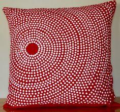 Red Marimekko Pillow Case Handmade 20x20 inches (50x50cm) by PantsandPillows