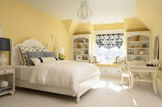 Martha OHara Interiors: Sunny yellow and blue girls bedroom. White moroccan headboard with crisp white sheets ...