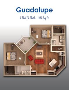 $719 3d House Plans, Dream House Plans, Small House Plans, 2 Bedroom House, House Rooms, Small Apartment Layout, Sims House Design, Building A Container Home, Floor Plan Layout