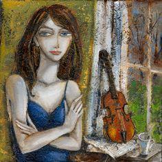 Fine Art Dublin Lady with violin beside window