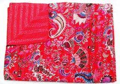 RED MUKUT KANTHA QUILT THROW GUDARI TWIN BEDSPREAD Vintage Ethnic Decor Art #LuckyHandicraft #Traditional
