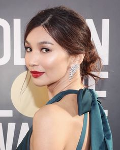 The most impressive beauty looks at the Golden Globes 2019 - Byrdie Beauty - Golden Globe Award, Golden Globes, Gemma Chan, Gemma Styles, Celebrity Beauty, Celebrity News, Loose Braids, French Hair, Red Lipsticks