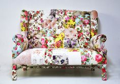 Floral Wing Back Patchwork Sofa by namedesignstudio on Etsy, $1,850.00