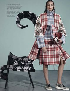 Publication: Vogue Italia November 2013 Model: Ashleigh Good Photographer: Steven Meisel Fashion Editor: Marie Amélie Sauvé Hair: Guido Palau Make-up: Pat McGarth Nails: Jin Soon Choi #cuadros #plaid #escocés #style #gitanilla #colorsfull