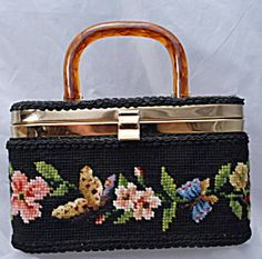 Vintage 60's JR Florida Needlepoint Box Purse