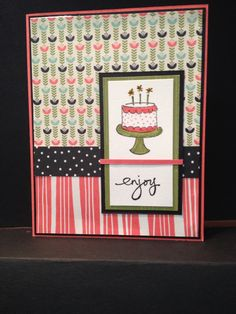 Card #5: Simple and fast use of the Stampin Up! Pretty Petals 6x6 DSP pack.
