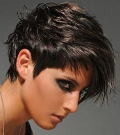 Fine haircut for summer, Short Hairstyle-133, short dark hair, messy style, long bangs