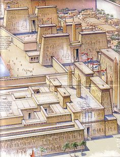 Recreation of Pi-Ramses complex which held 300,000 inhabitants. Egyptian pharaoh Ramses (reigned 1279 BC – 1213 BC) established the city of Pi-Ramesses in the Nile Delta as his new capital.