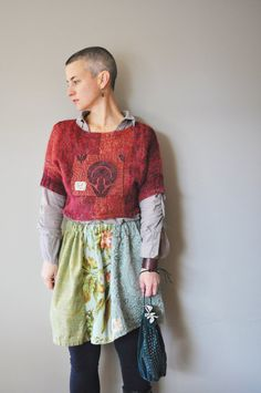 RESERVED/Upcycled Boho Jewel Tone Crop Sweater by RebirthRecycling