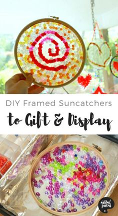How to make colorful melted beads suncatchers that are wonderful for displaying or gift giving. This is an easy and fast way to make melted bead suncatchers with a simple built-in frame. via Artful Parent Fall Arts And Crafts, Arts And Crafts Storage, Arts And Crafts For Teens, Art And Craft Videos, Arts And Crafts House, Crafts For Kids To Make, Arts And Crafts Movement, Summer Crafts, Diy Crafts To Sell