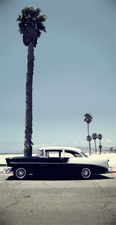 Beauty car on Los Angeles beach