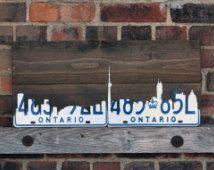 Toronto Skyline Kunst - handgemachte Vintage rustikal Nummernschild - weiße Platten