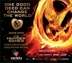 Lionsgate has collaborated with Variety - the Children's Charity of the United States to create limited ed. pins feat. #MockingjayPart2. Proceeds from the pins, for Variety's 26th annual Gold Heart Campaign, will benefit Variety programs that provide equipment & services to children who have a disability or are disadvantaged. Get your Mockingjay Gold Heart Pin at participating movie theaters (usvariety.org). Thank you for your support! #VarietyKidsCan #HelpVarietyKids #SupportVarietyKids
