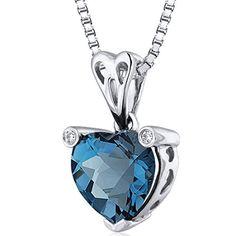 Revoni Splendid Love 2.00 carats Heart shape Sterling Silver Rhodium Finish London Blue Topaz Pendant