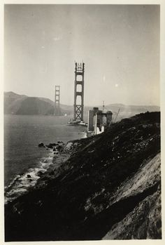 """< Golden Gate Bridge under construction, 193? > Repost from California State Library, See their """"Golden Gate Bridge"""" Pinterest Board for some great historical photos and book recomendations."""