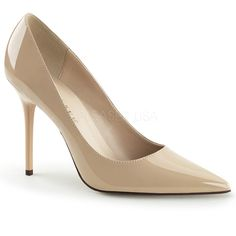 Pleaser Classique 20 Nude Patent PVC Slender Heeled Court Shoes