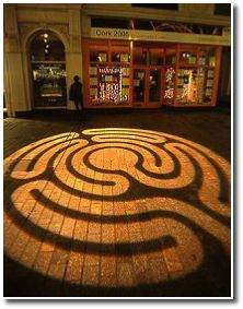 Projected labyrinth, Cork, Ireland, 2005, by Labyrinthos.
