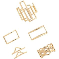 Forever 21 Geo Cutout Ring Set ($5.90) ❤ liked on Polyvore featuring jewelry, rings, geometric rings, forever 21 rings, forever 21, band jewelry and channel-set band ring