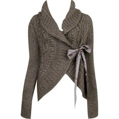 Crochet Cardigan W/ Sash ($35) ❤ liked on Polyvore featuring tops, cardigans, jackets, sweaters, outerwear, crochet open front cardigan, macrame top, sash belt, long sleeve open front cardigan and brown crochet cardigan