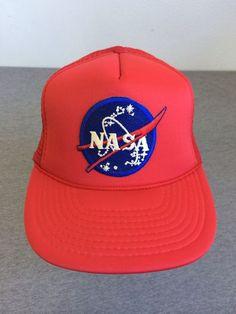 Vintage NASA 80's Snap Back HAT Logo Patch Mesh Near MINT Adjustable Red Trucker #ArmadilloBrand #BaseballCap
