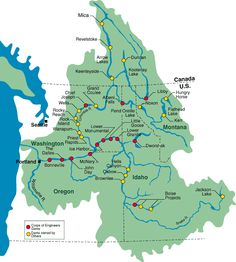 Simple map of the Columbia River Watershed, showing the location of all the major dams in the water system.