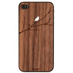 Wooden Bird on Branch iPhone Veneer. Without distracting from the clean aesthetics of the iPhone 4 or iPhone 4S, this real walnut wood veneer provides superior protection from accidental drops and scratches.  $30.00