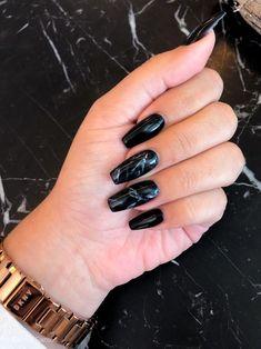 Trending black nails art manicure ideas 60 Trending black nails art manicure i. - The most beautiful nail designs Black Marble Nails, Black Coffin Nails, Black Acrylic Nails, Best Acrylic Nails, Gorgeous Nails, Pretty Nails, Aycrlic Nails, Black Nail Designs, Fire Nails