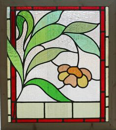 Antique Stained Glass Window Eight Colors of Glass Ruby Bordered Bloom | eBay