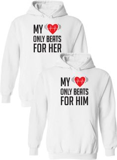 My Heart Only Beats For Her & Him Matching Couple Hoodies Boyfriend And Girlfriend Hoodies, Boyfriend Shirt Outfits, Boyfriend Gifts, Cute Couple Hoodies, Matching Hoodies For Couples, Couple Clothes, Couple Stuff, Couple Things, Disney Inspired Fashion