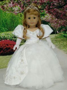 American Girl Doll Maryellen as Enchanted Princess Giselle wedding dress gown. American Girl Doll Maryellen as Enchanted Princess Giselle wedding dress gown. American Girl Outfits, American Girl Dress, American Girl Crafts, American Doll Clothes, Ag Doll Clothes, Doll Clothes Patterns, Pixie, Girl Dolls, Ag Dolls