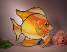 Stained Glass Angel Fish with a Smile by StainedGlassbyWalter, $29.95