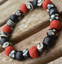 Great for Skaters and Surfers!! - Mens Red & Brown Bead Surfer Tribal Bracelet by DysfunctionDesigns, £8.00
