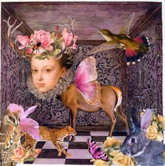 She was one with Nature. Mixed media collage by yours truly. One With Nature, Altered Images, Mixed Media Collage, Custom Framing, Painting, Beautiful, Art, Art Background, Painting Art