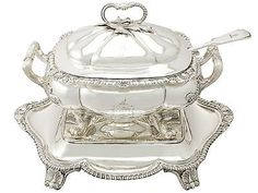 Sterling Silver Soup Tureen with Matching Stand Antique George IV   eBay