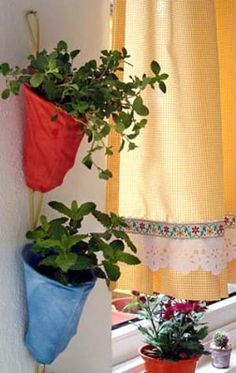 Coador de pano que vira vaso de plantas - como fazer   Vila do Artesão