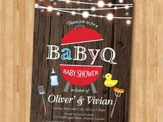 BBQ Baby Shower Invitation. BabyQ Shower Invitation. Rustic Co-ed Baby Shower Invite. Babyque Bbq Boy or Gril. Printable digital DIY.