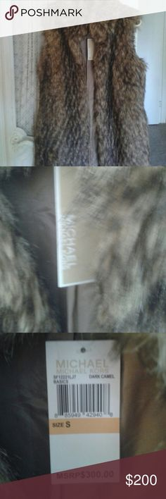 Michael Kor's faux fur vest. Small/Medium So perfect for Fall. Soft and cozy. Never have chance to wear in FL. Medium can wear too. Michael Kors Jackets & Coats Vests