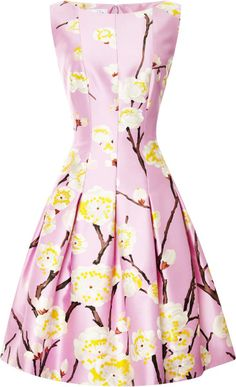 Oscar De La Renta pink floralprint silkblend #dress