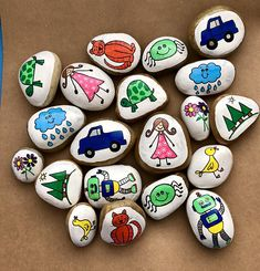 Story Starters Sets Story Stones Story Tokens Pretend Play Early Literacy Imaginative Play Teacher Gift Gift for Kids Story rocks Pebble Painting, Pebble Art, Stone Painting, Story Stones, Rock Painting Ideas Easy, Rock Painting Designs, Story Starters, Starter Set, Hand Painted Rocks