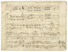 Autograph partiture by the Polish composer Frédéric Chopin of his Polonaise Op. 53 in A flat major for piano, 1842.