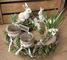 Easter Decor - Table Wreath * Easter Bunny Mum with Child * - a unique product by KRANZu .- Osterdeko – Tischkranz *Osterhasenmama mit Kind* – ein Designerstück von KRANZu… Easter decoration – table wreath * Easter bunny mum with child * – a … - Easter Flower Arrangements, Easter Flowers, Easter Colors, Floral Arrangement, Spring Decoration, Flower Decoration, Easter Table Decorations, Easter Decor, Easter Centerpiece