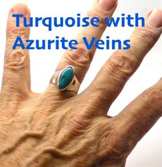 Ring Turquoise with Azurite veins | 925 Sterling Silver |Style and Stone | Crystal Heart Melbourne Australia since 1986