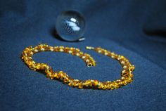 Amber seed bead necklace Gentle jewelry Delicate  Yellow by NioNia