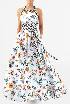 I <3 this Empire tie waist floral butterfly print crepe maxi halter dress from eShakti