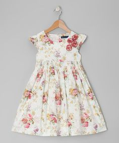 Take a look at this Ecru Floral Smocked Dress - Infant, Toddler & Girls by Periwinkle on #zulily today!