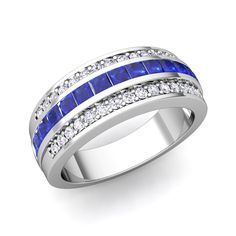 Pave Diamond and Princess Cut Sapphire Ring in Platinum, 7mm. This women wedding band showcases princess cut blue sapphires channel set in platinum band with sparkling diamonds studded aside. Perfect as wedding ring or anniversary ring. Matching mens wedding band available.