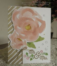 "Great way to showcase a beautiful floral piece of designer paper - cut it out and pop it onto your handmade card.  Make it a wedding card with the ""For the New Two"" stamp set."